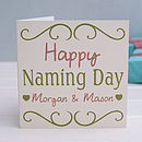 Personalised 'Naming Day' Baby Card