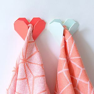 Origami Heart Coloured Metal Hook - hooks, pegs & clips