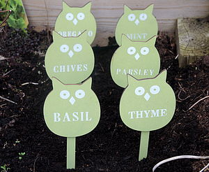 Set Of Six Owl Design Herb Markers - shop by price