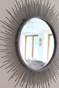 Sunburst Mirror In Aged Metal