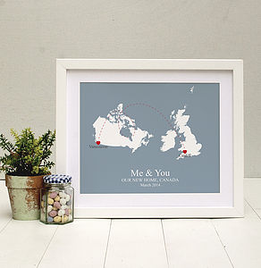 'Home And Abroad' Personalised Print - art & pictures