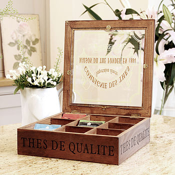 Nine Compartment French Wooden Tea Box