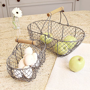 Set Of Two Chicken Wire Trugs