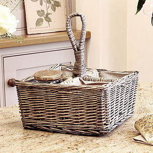 Wicker Four Section Storage Caddy - baskets