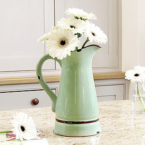 Vintage Green Distressed Ceramic Jug