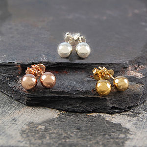 Ball Round Silver/Gold Stud Earrings - stocking fillers under £15