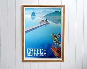 Original 1949 Greece Corfu Travel Poster - art & pictures