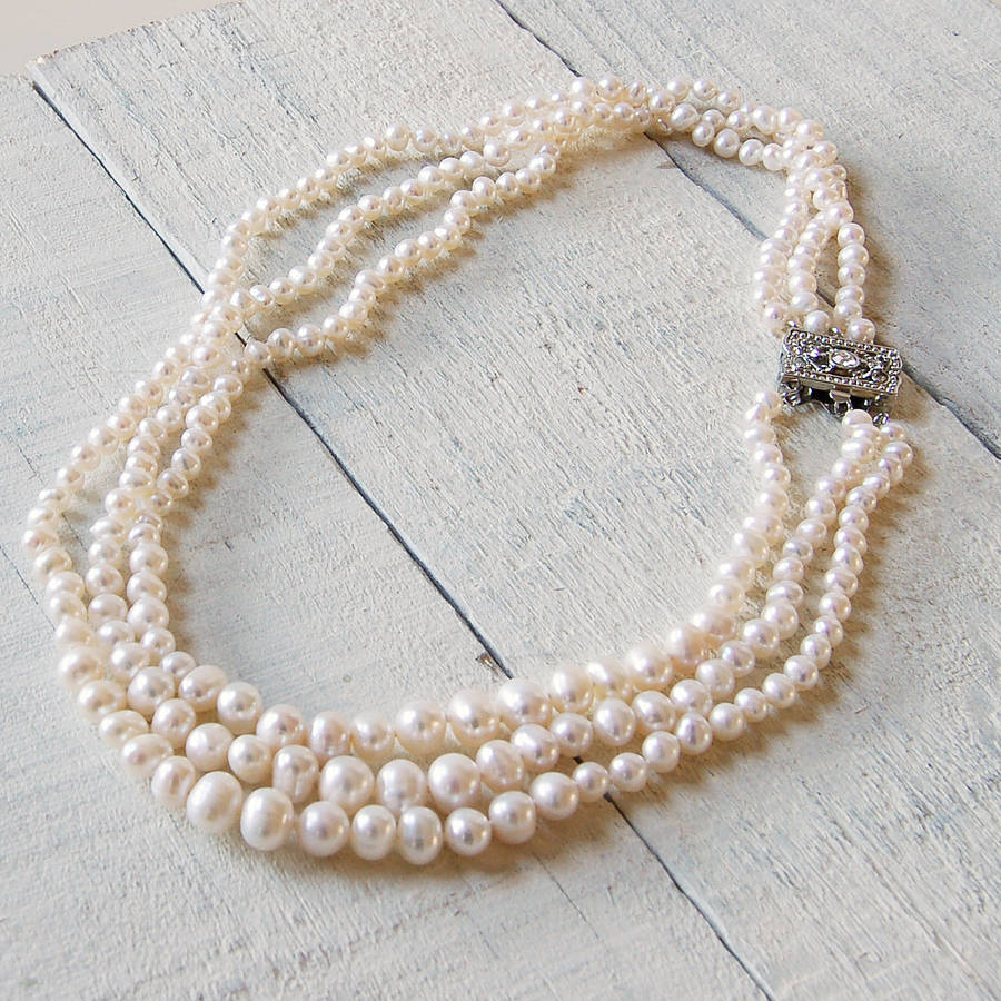 sea bling south jewellery shell jewelry pearl pearls bridal double strand white necklace