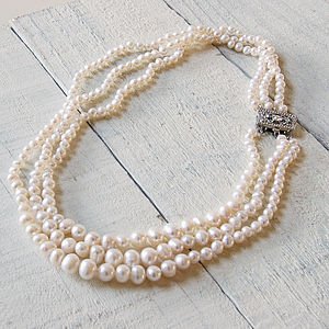 Vintage Style Triple Strand Pearl Necklace - wedding fashion