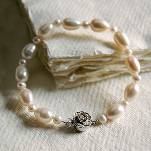 Pearl Bracelet With Silver Rose Clasp - bracelets & bangles