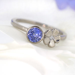 Sapphire And Diamond Flower Ring, Size K Half