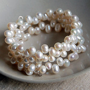 Triple Strand Pearl Wire Cuff Bracelet - wedding jewellery