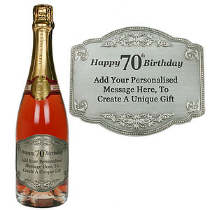 Personalised 70th Pewter Champagne Label - champagne & prosecco