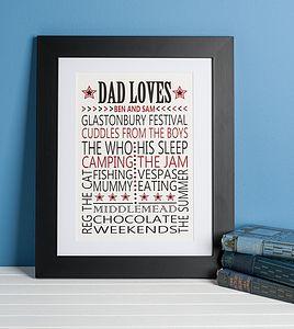 'Dad Loves' Retro Print