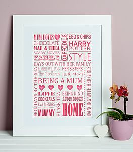 Personalised 'Mum Loves' Print - typography