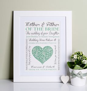 Mother Of The Bride/Groom Wedding Print - wedding thank you gifts