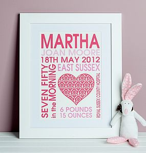 Baby Girl Heart Birth Print - children's room