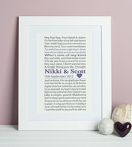 Song Lyrics First Dance Print - 1st anniversary: paper