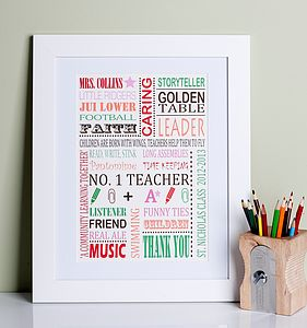 Personalised Thank You Teacher Print - posters & prints