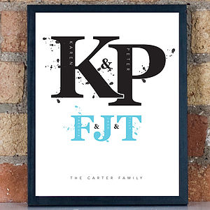 Personalised Family Monogram Framed Print