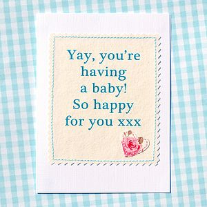 'Yay, You're Having A Baby!' Pregnancy Card - new baby cards