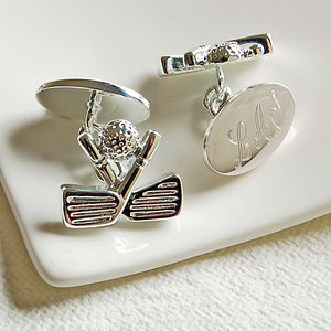 Personalised cufflinks for men for Golf buflings