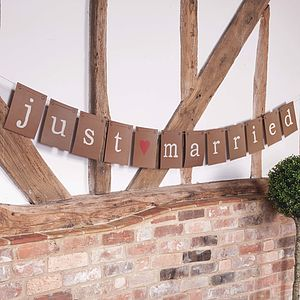 Just Married Brown Paper Bunting - room decorations