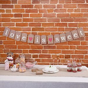 Love Is Sweet Brown Paper Bunting - room decorations