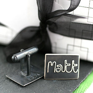 Personalised Silver Name Cufflinks - Black - cufflinks