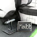 Personalised Silver Name Cufflinks - Black