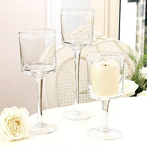 Etched Glass Tall Candle Holders
