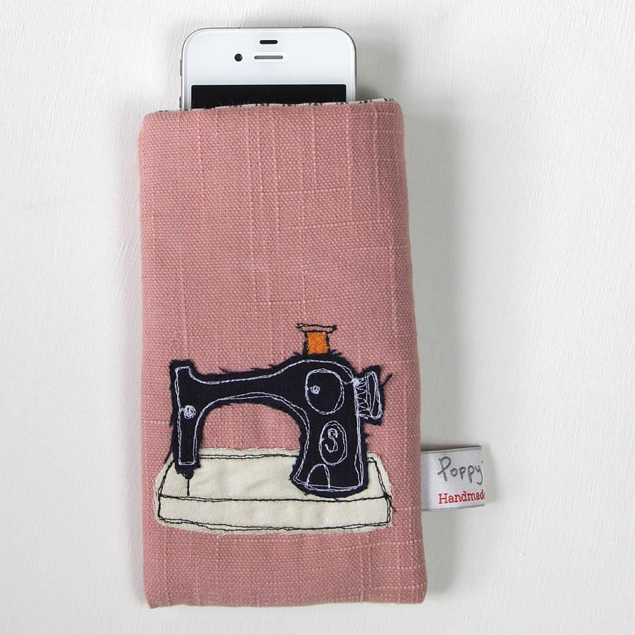 Poppy Treffry Embroidered Phone Case Sewing Machine