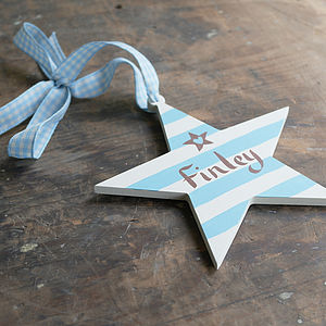 Boy's Stripey Personalised Wooden Star Decoration - page boy gifts