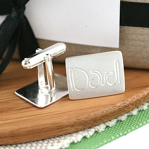 Personalised Silver Dad Cufflinks - men's jewellery