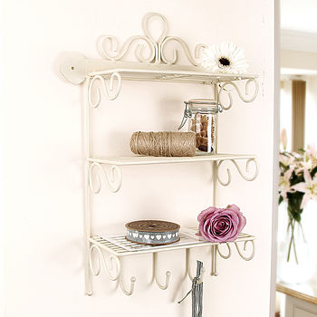 Country Cream Wall Storage Rack With Hooks
