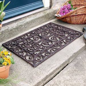 Traditional Rectangular Outdoor Cast Iron Doormat - rugs & doormats