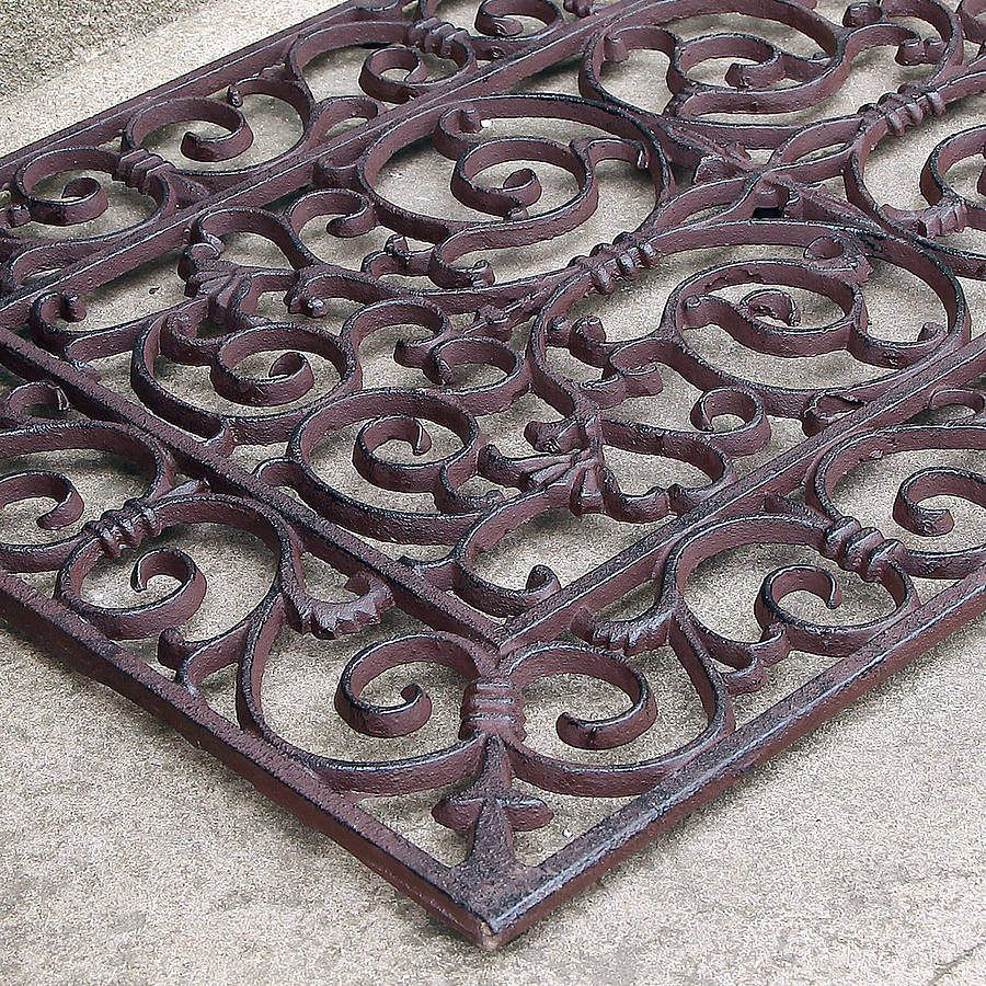 Traditional Rectangular Outdoor Cast Iron Doormat By Dibor