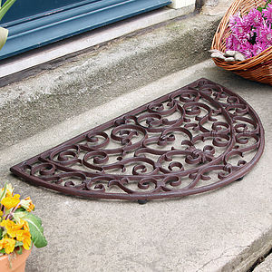 Heart Half Moon Cast Iron Door Mat - rugs & doormats