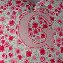 Personalised Handmade Pink Rose Heart Cushion