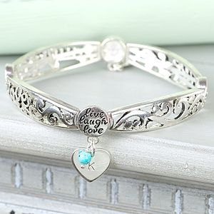 'Live Laugh Love' Initial Charm Bangle - jewellery for women