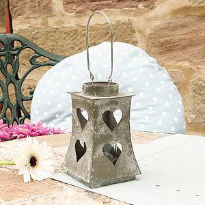 Zinc Heart Lantern - candles & candlesticks