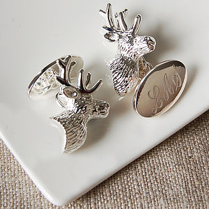 Personalised Stag's Head Cufflinks - men's accessories