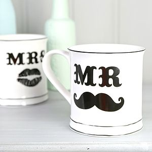 'Mr And Mrs' Moustache Mugs - engagement gifts