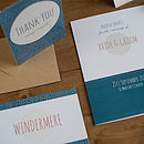 Contemporary Wedding Stationery We Tie the Knot Windermere Lake Invite