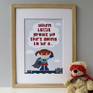 Personalised 'When I Grow Up' Supergirl Print