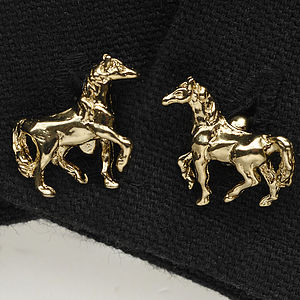 Horse Cufflinks In 24 Ct Gold On Silver - cufflinks