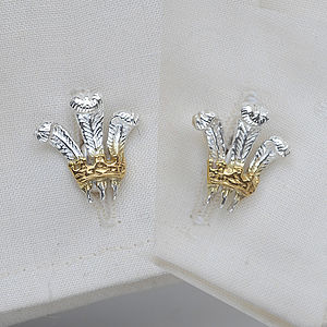 Prince Of Wales Feathers Cufflinks - men's accessories