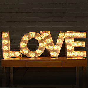 'Love' Light Up Fairground Bulb Sign - baby's room
