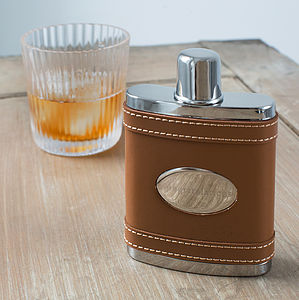 Engraved Tan Leather Wrapped Hip Flask - drink & barware