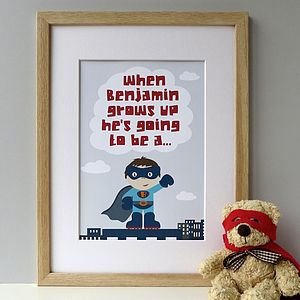 Personalised 'When I Grow Up' Superhero Print - posters & prints for children